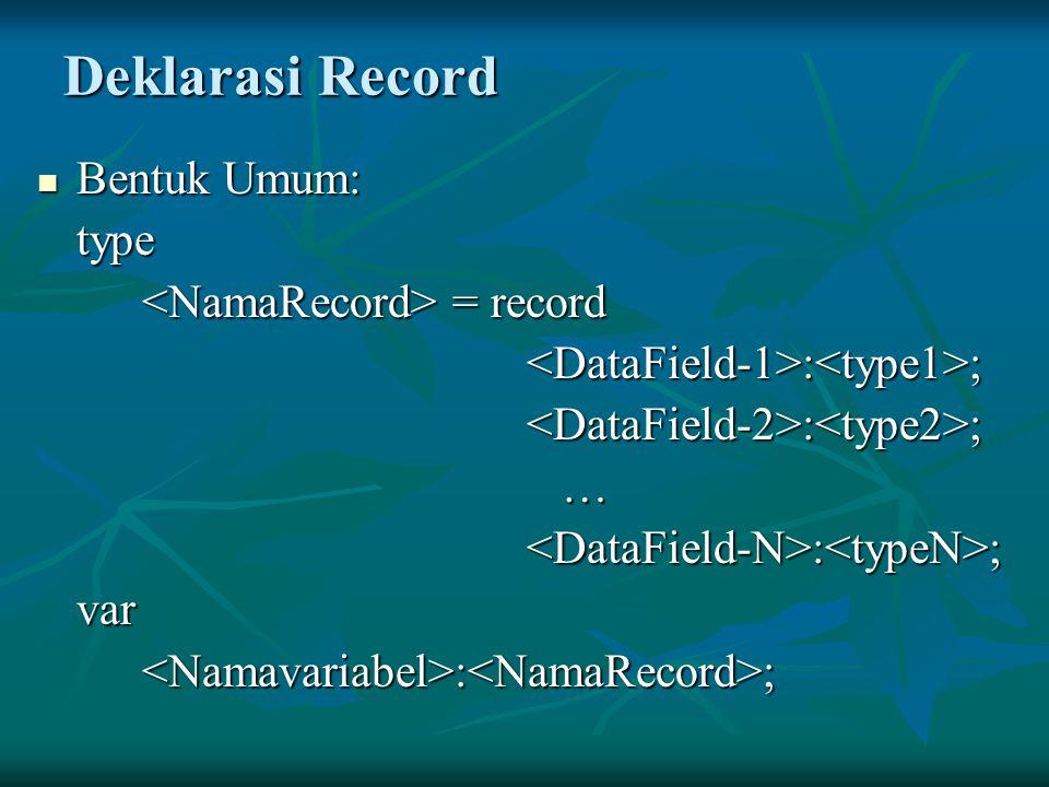 Deklarasi Record Bentuk Umum: Bentuk Umum:type = record = record : ; : ; … var<Namavariabel>:<NamaRecord>;