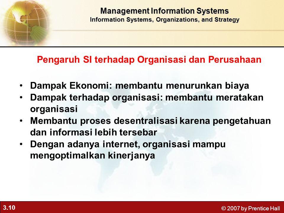 3.10 © 2007 by Prentice Hall Management Information Systems Information Systems, Organizations, and Strategy Dampak Ekonomi: membantu menurunkan biaya