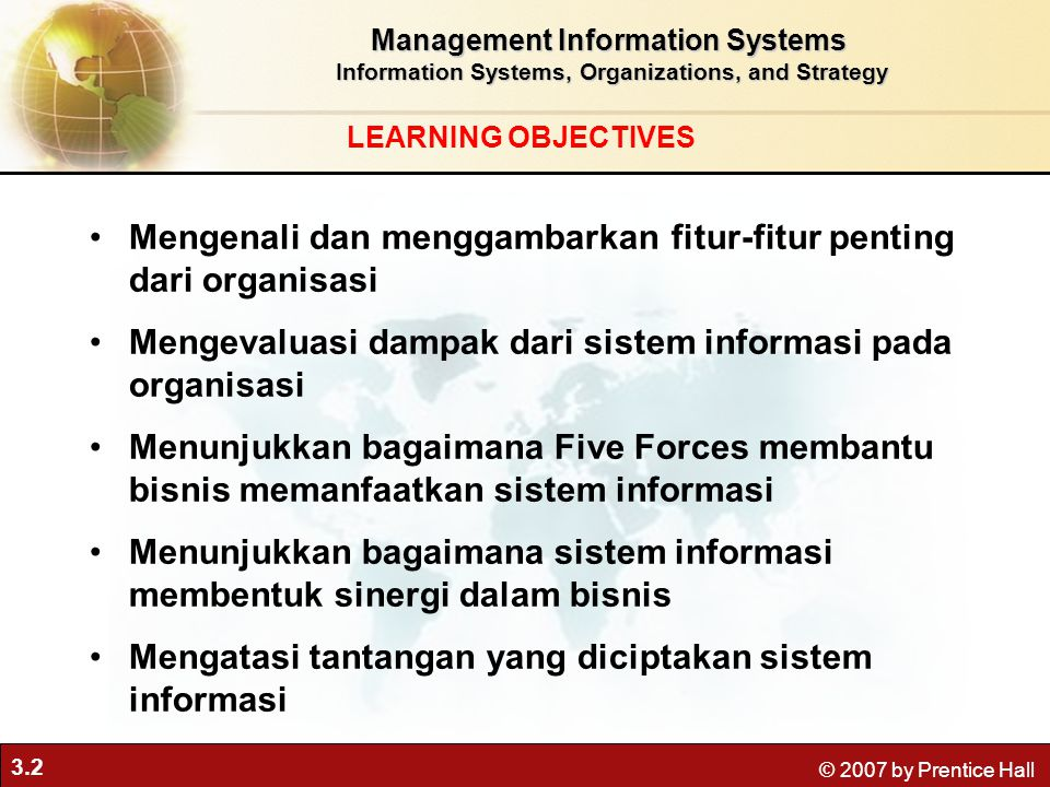 3.2 © 2007 by Prentice Hall LEARNING OBJECTIVES Management Information Systems Information Systems, Organizations, and Strategy Information Systems, O