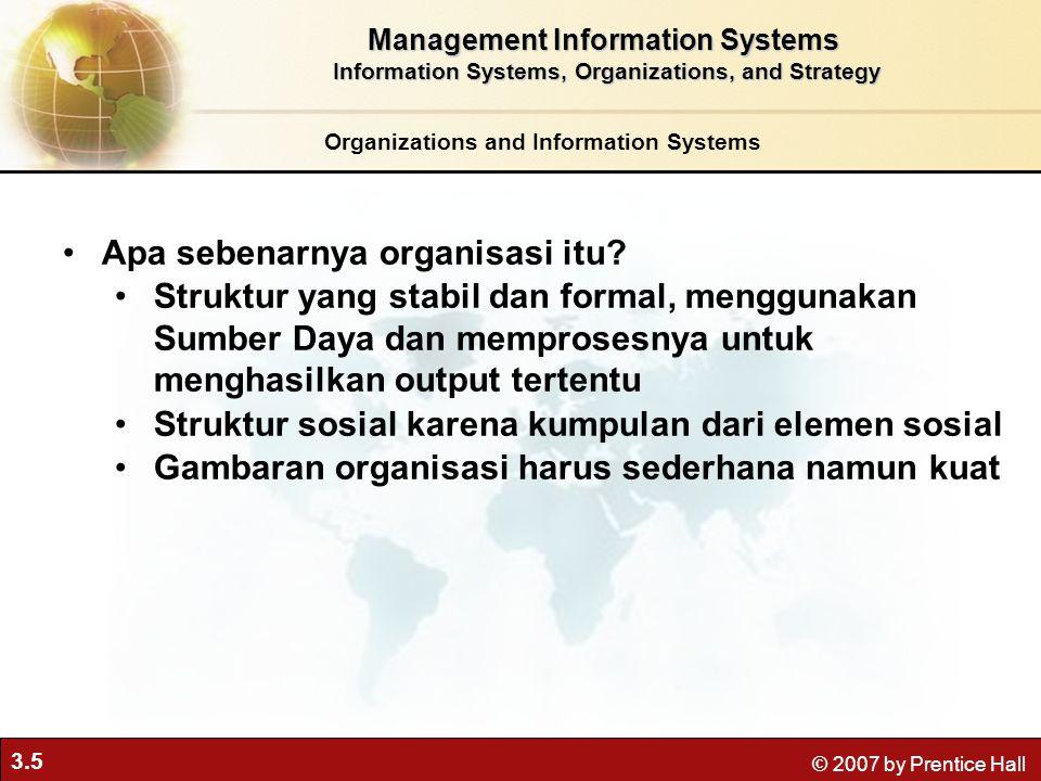 3.5 © 2007 by Prentice Hall Organizations and Information Systems Apa sebenarnya organisasi itu? Struktur yang stabil dan formal, menggunakan Sumber D
