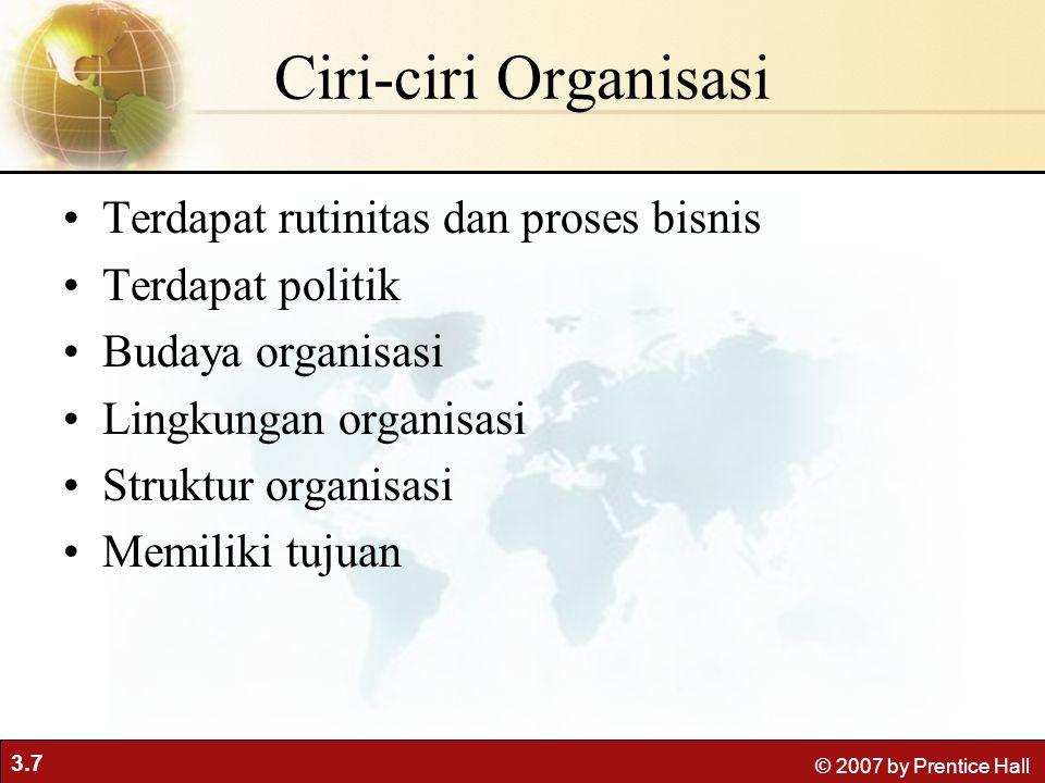 3.7 © 2007 by Prentice Hall Ciri-ciri Organisasi Terdapat rutinitas dan proses bisnis Terdapat politik Budaya organisasi Lingkungan organisasi Struktur organisasi Memiliki tujuan