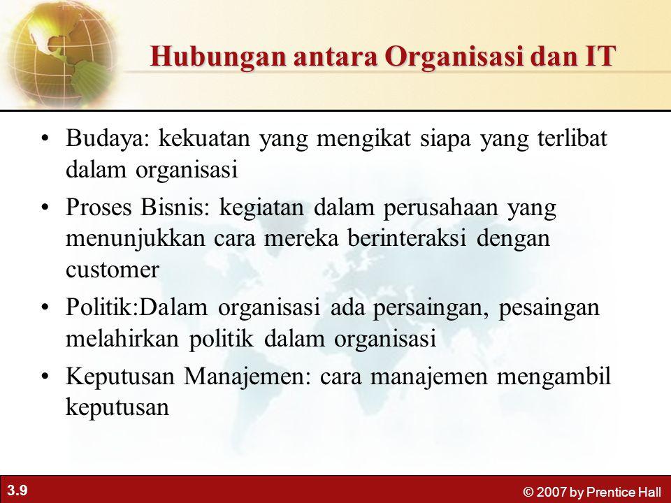 3.9 © 2007 by Prentice Hall Budaya: kekuatan yang mengikat siapa yang terlibat dalam organisasi Proses Bisnis: kegiatan dalam perusahaan yang menunjuk