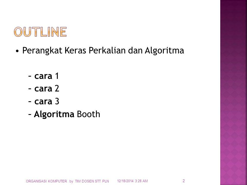  Andaikan: Register Perkalian sebanyak 32 bits, then: – Register Pengali/ Multiplicand: 64 bits (geser kiri 32 langkah) – Register Hasil/ Product register: 64 bits (mendapatkan sum) – ALU: 64 bits (membentuk penambahan/ addition)  Hardware: 12/18/2014 3:30 AM ORGANISASI KOMPUTER by TIM DOSEN STT PLN 3