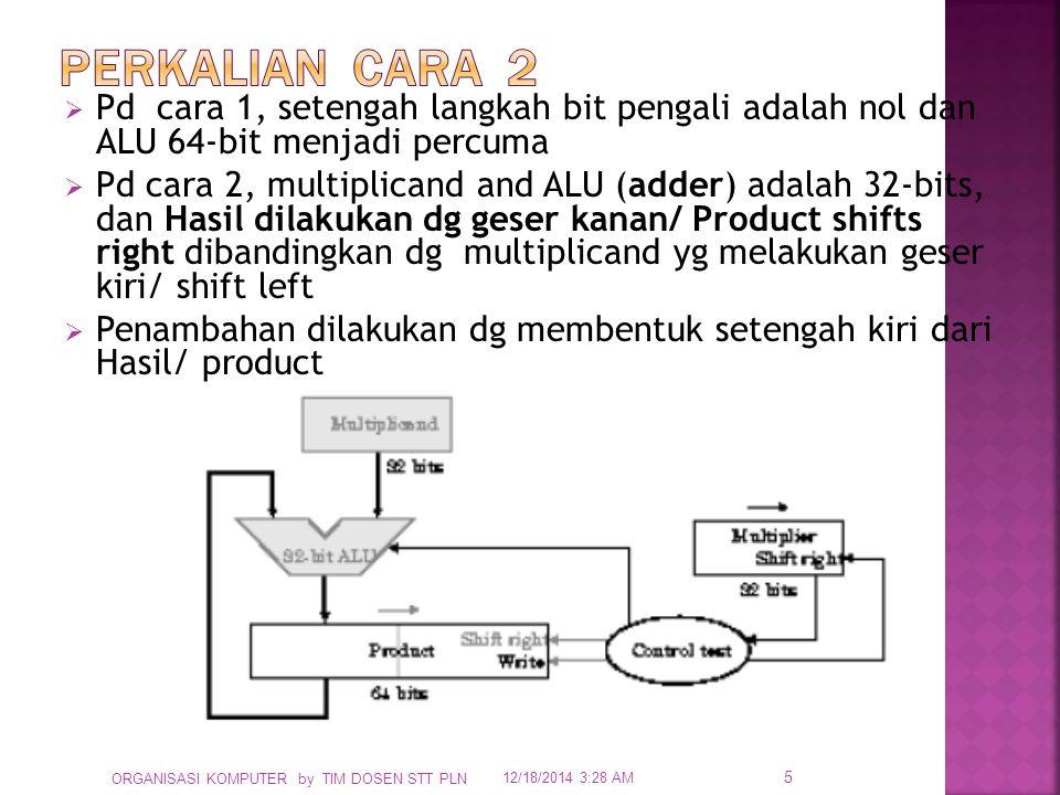  Pd cara 1, setengah langkah bit pengali adalah nol dan ALU 64-bit menjadi percuma  Pd cara 2, multiplicand and ALU (adder) adalah 32-bits, dan Hasi
