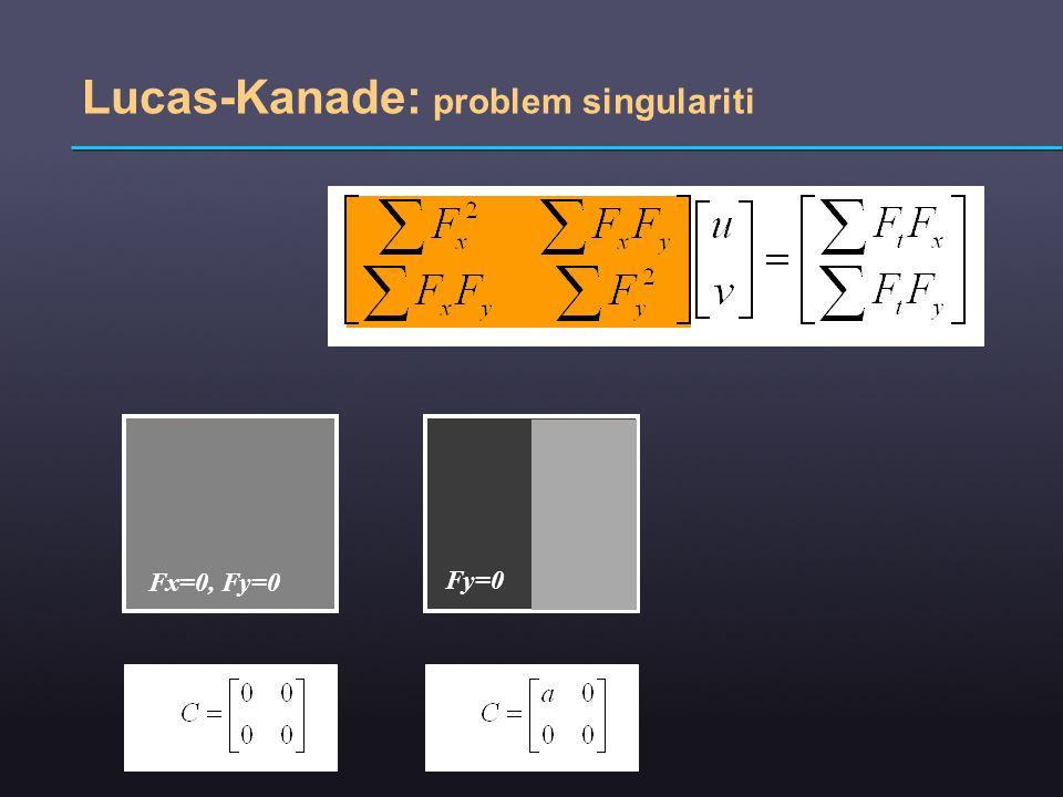 Lucas-Kanade: problem singulariti Fx=0, Fy=0 Fy=0