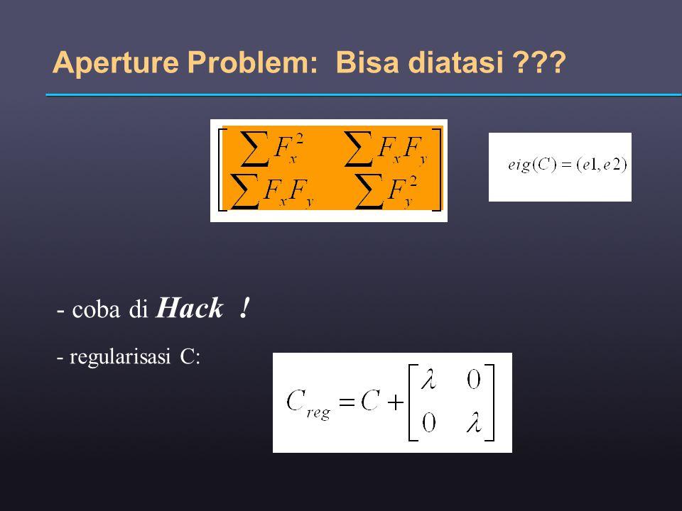Aperture Problem: Bisa diatasi ??? - coba di Hack ! - regularisasi C: