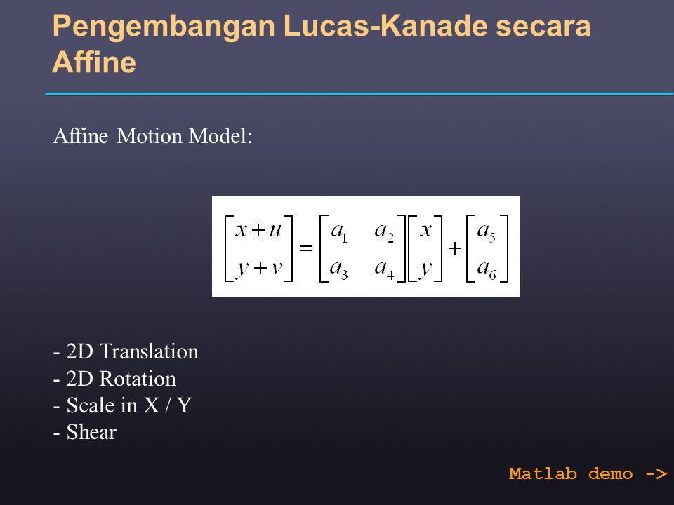 Pengembangan Lucas-Kanade secara Affine Affine Motion Model: - 2D Translation - 2D Rotation - Scale in X / Y - Shear Matlab demo ->