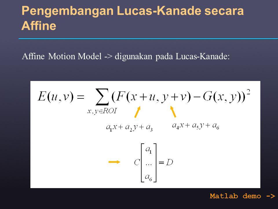 Pengembangan Lucas-Kanade secara Affine Affine Motion Model -> digunakan pada Lucas-Kanade: Matlab demo ->