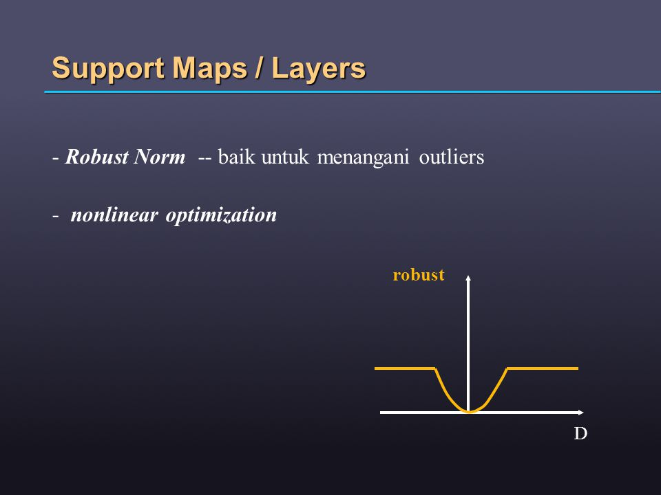 Support Maps / Layers - Robust Norm -- baik untuk menangani outliers - nonlinear optimization robust D