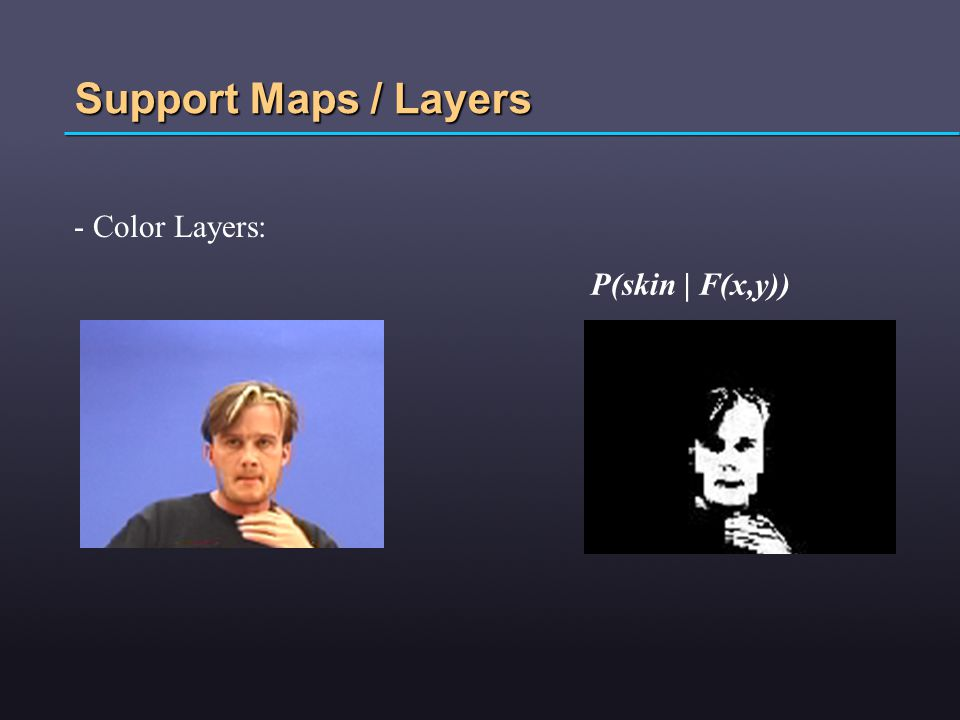 Support Maps / Layers - Color Layers: P(skin | F(x,y))