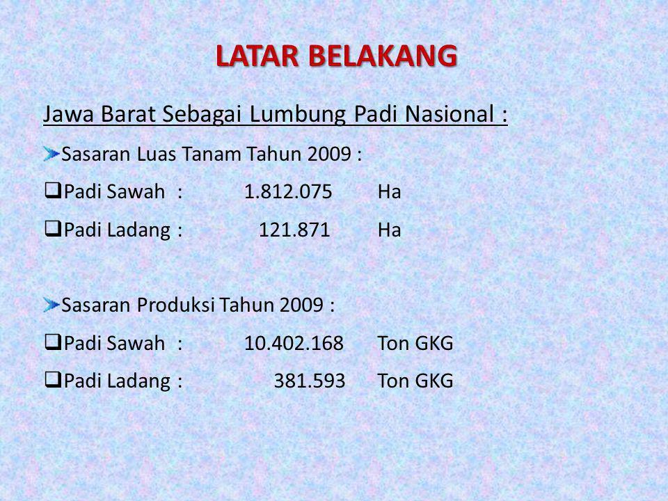 LATAR BELAKANG Jawa Barat Sebagai Lumbung Padi Nasional : Sasaran Luas Tanam Tahun 2009 :  Padi Sawah:1.812.075Ha  Padi Ladang: 121.871Ha Sasaran Pr