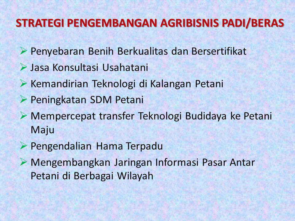 STRATEGI PENGEMBANGAN AGRIBISNIS PADI/BERAS  Penyebaran Benih Berkualitas dan Bersertifikat  Jasa Konsultasi Usahatani  Kemandirian Teknologi di Ka