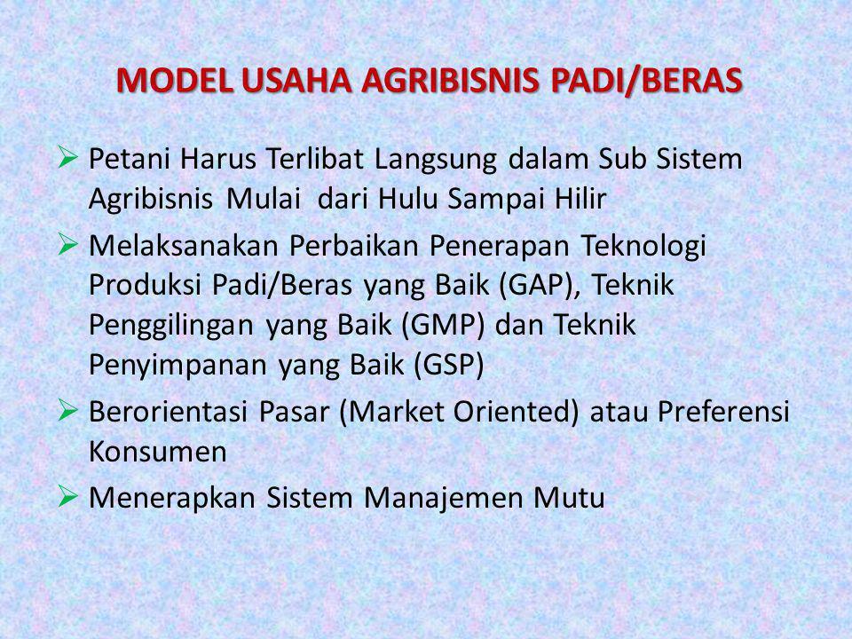 MODEL USAHA AGRIBISNIS PADI/BERAS  Petani Harus Terlibat Langsung dalam Sub Sistem Agribisnis Mulai dari Hulu Sampai Hilir  Melaksanakan Perbaikan P