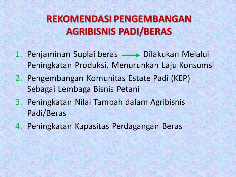 REKOMENDASI PENGEMBANGAN AGRIBISNIS PADI/BERAS 1.Penjaminan Suplai beras Dilakukan Melalui Peningkatan Produksi, Menurunkan Laju Konsumsi 2.Pengembang