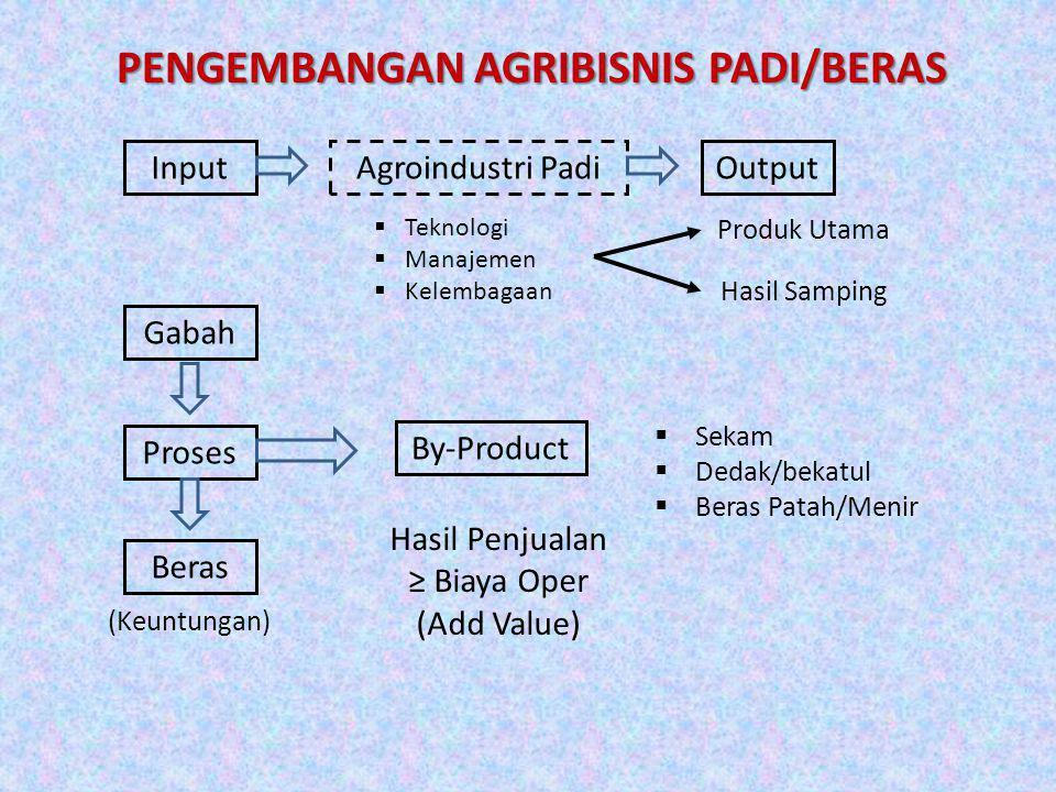 PENGEMBANGAN AGRIBISNIS PADI/BERAS InputAgroindustri Padi  Teknologi  Manajemen  Kelembagaan Output Produk Utama Hasil Samping Gabah Proses Beras (