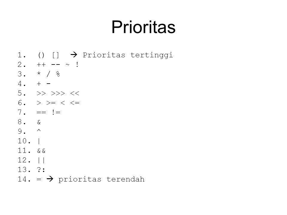 Prioritas 1.() []  Prioritas tertinggi 2.++ -- ~ .