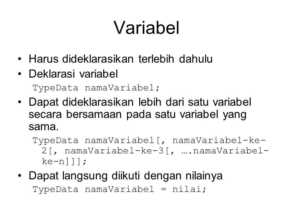 Variabel Harus dideklarasikan terlebih dahulu Deklarasi variabel TypeData namaVariabel; Dapat dideklarasikan lebih dari satu variabel secara bersamaan pada satu variabel yang sama.