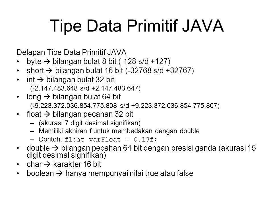 Tipe Data Primitif JAVA Delapan Tipe Data Primitif JAVA byte  bilangan bulat 8 bit (-128 s/d +127) short  bilangan bulat 16 bit (-32768 s/d +32767) int  bilangan bulat 32 bit (-2.147.483.648 s/d +2.147.483.647) long  bilangan bulat 64 bit (-9.223.372.036.854.775.808 s/d +9.223.372.036.854.775.807) float  bilangan pecahan 32 bit –(akurasi 7 digit desimal signifikan) –Memiliki akhiran f untuk membedakan dengan double –Contoh: float varFloat = 0.13f; double  bilangan pecahan 64 bit dengan presisi ganda (akurasi 15 digit desimal signifikan) char  karakter 16 bit boolean  hanya mempunyai nilai true atau false