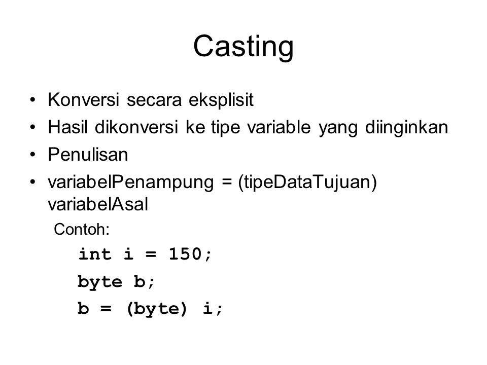 Casting Konversi secara eksplisit Hasil dikonversi ke tipe variable yang diinginkan Penulisan variabelPenampung = (tipeDataTujuan) variabelAsal Contoh: int i = 150; byte b; b = (byte) i;