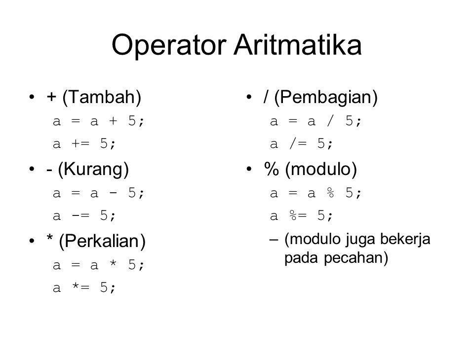Operator Aritmatika + (Tambah) a = a + 5; a += 5; - (Kurang) a = a - 5; a -= 5; * (Perkalian) a = a * 5; a *= 5; / (Pembagian) a = a / 5; a /= 5; % (modulo) a = a % 5; a %= 5; –(modulo juga bekerja pada pecahan)