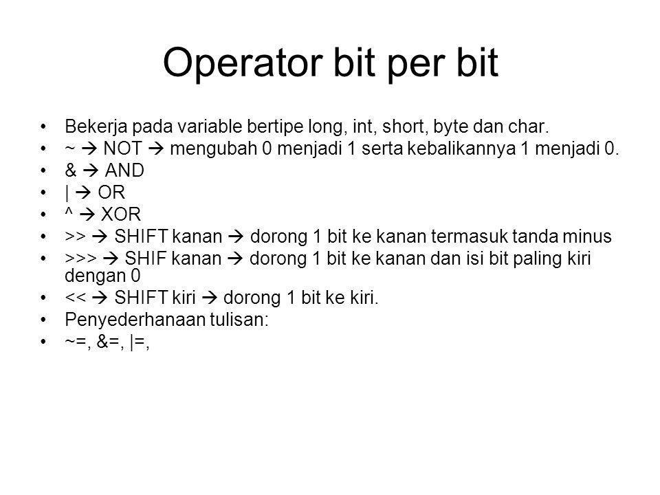 Operator bit per bit Bekerja pada variable bertipe long, int, short, byte dan char.