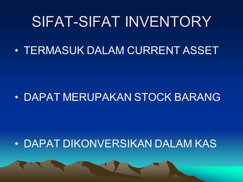 INVENTORY asset yang sangat penting, baik dalam jumlah maupun peranannya dalam kegiatan dari banyak perusahaan. barang barang dagangan yang dimaksudka