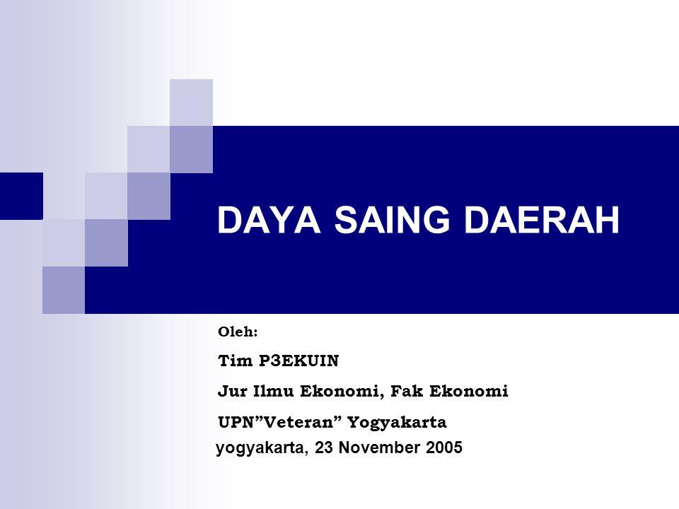 DAYA SAING DAERAH yogyakarta, 23 November 2005 Oleh: Tim P3EKUIN Jur Ilmu Ekonomi, Fak Ekonomi UPN Veteran Yogyakarta