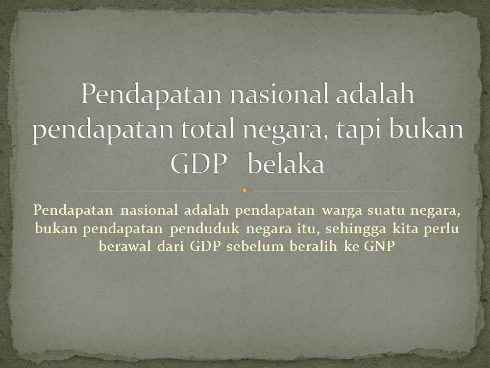   Miliaran Persentase Dari  Dolar Pendapatan Nasional Pendapatan Nasional 12.221,1 100 Kompensasi karyawan 7.874,2 64,4 Pendapatan perusahaan perseorangan 1.042,6 8,5 Pendapatan sewa 65,4 0,5 Laba perseroan terbatas 1.598,2 13,1 Bunga neto 602,6 4,9 Pajak tak langsung dikurangi subsidi 961,4 7,9 Pembayaran transfer bisnis neto 94,2 0,8 Surplus perusahaan pemerintah -14,5 -0,1 