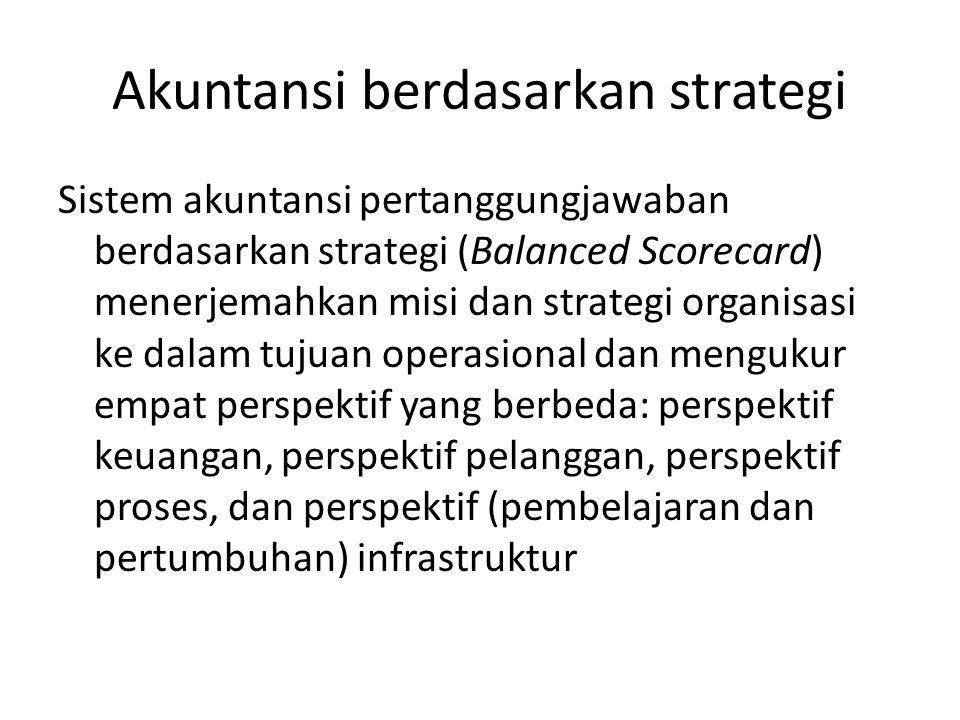 Akuntansi berdasarkan strategi Sistem akuntansi pertanggungjawaban berdasarkan strategi (Balanced Scorecard) menerjemahkan misi dan strategi organisas
