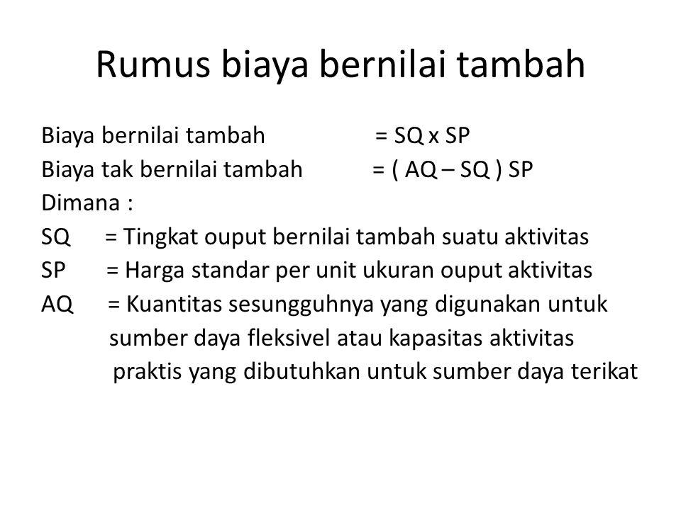 Rumus biaya bernilai tambah Biaya bernilai tambah = SQ x SP Biaya tak bernilai tambah = ( AQ – SQ ) SP Dimana : SQ = Tingkat ouput bernilai tambah sua