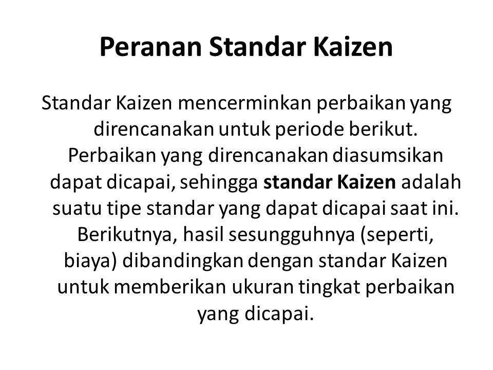 Peranan Standar Kaizen Standar Kaizen mencerminkan perbaikan yang direncanakan untuk periode berikut. Perbaikan yang direncanakan diasumsikan dapat di