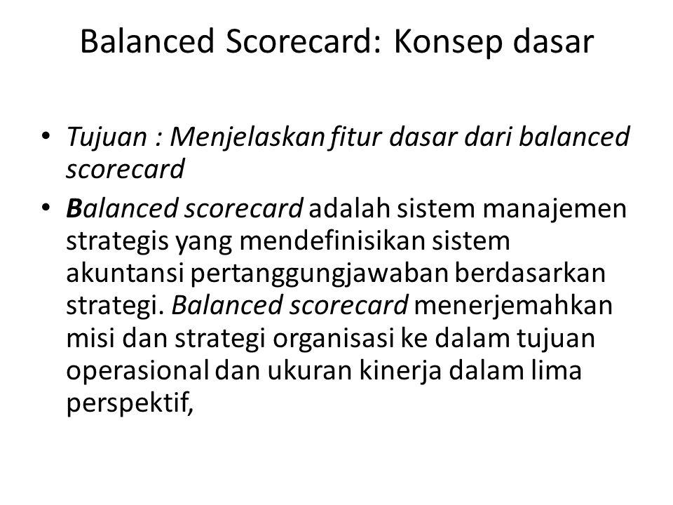 Balanced Scorecard: Konsep dasar Tujuan : Menjelaskan fitur dasar dari balanced scorecard Balanced scorecard adalah sistem manajemen strategis yang me