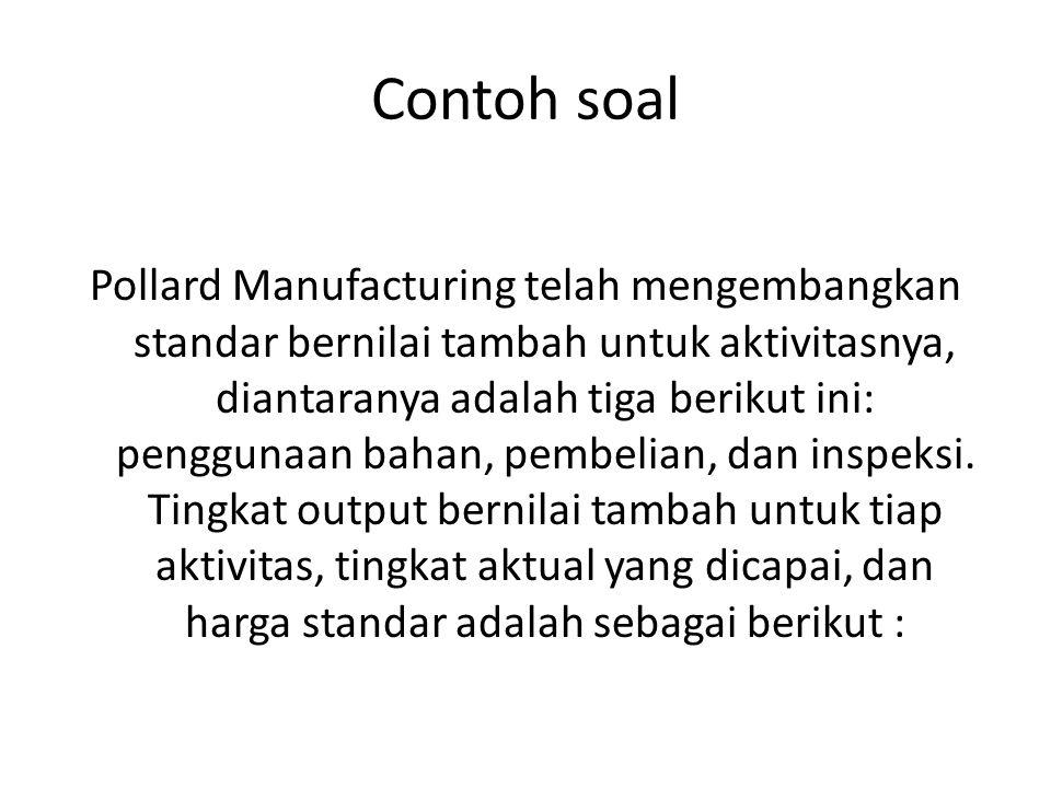 Contoh soal Pollard Manufacturing telah mengembangkan standar bernilai tambah untuk aktivitasnya, diantaranya adalah tiga berikut ini: penggunaan baha
