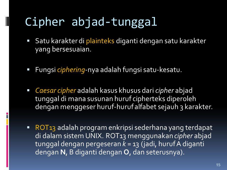 Cipher abjad-tunggal  Satu karakter di plainteks diganti dengan satu karakter yang bersesuaian.  Fungsi ciphering-nya adalah fungsi satu-kesatu.  C