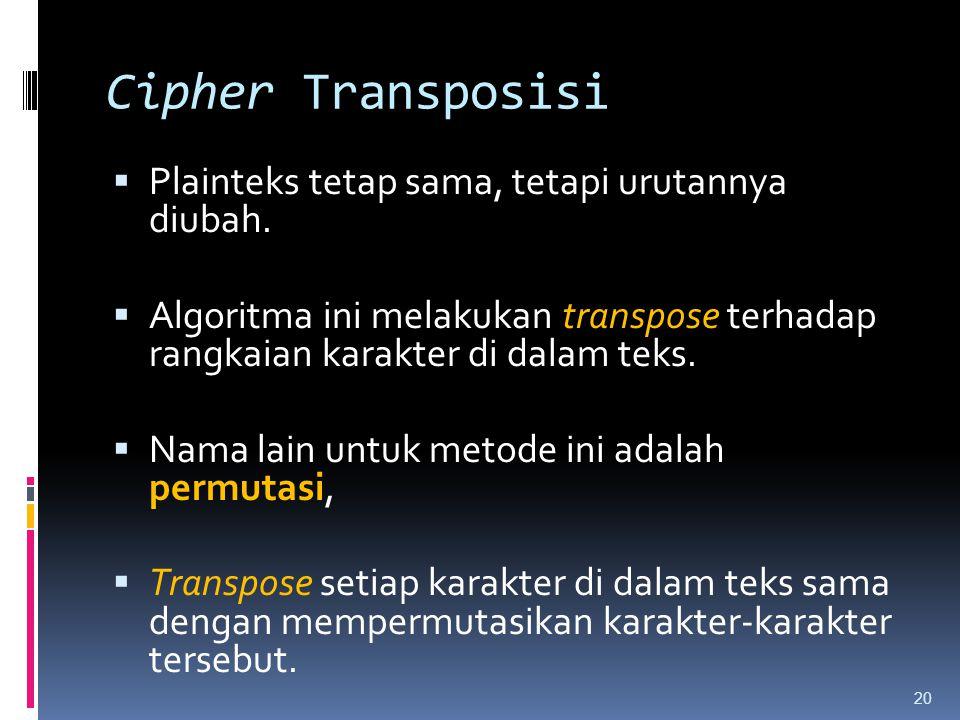 Cipher Transposisi  Plainteks tetap sama, tetapi urutannya diubah.  Algoritma ini melakukan transpose terhadap rangkaian karakter di dalam teks.  N