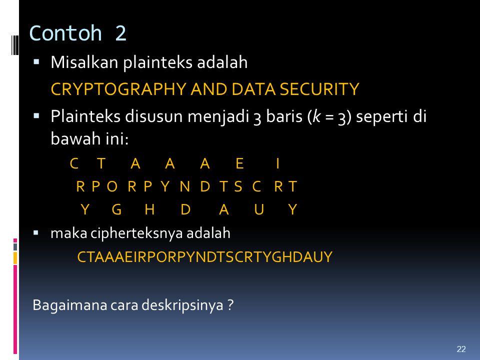 Contoh 2  Misalkan plainteks adalah CRYPTOGRAPHY AND DATA SECURITY  Plainteks disusun menjadi 3 baris (k = 3) seperti di bawah ini: C T A A A E I R