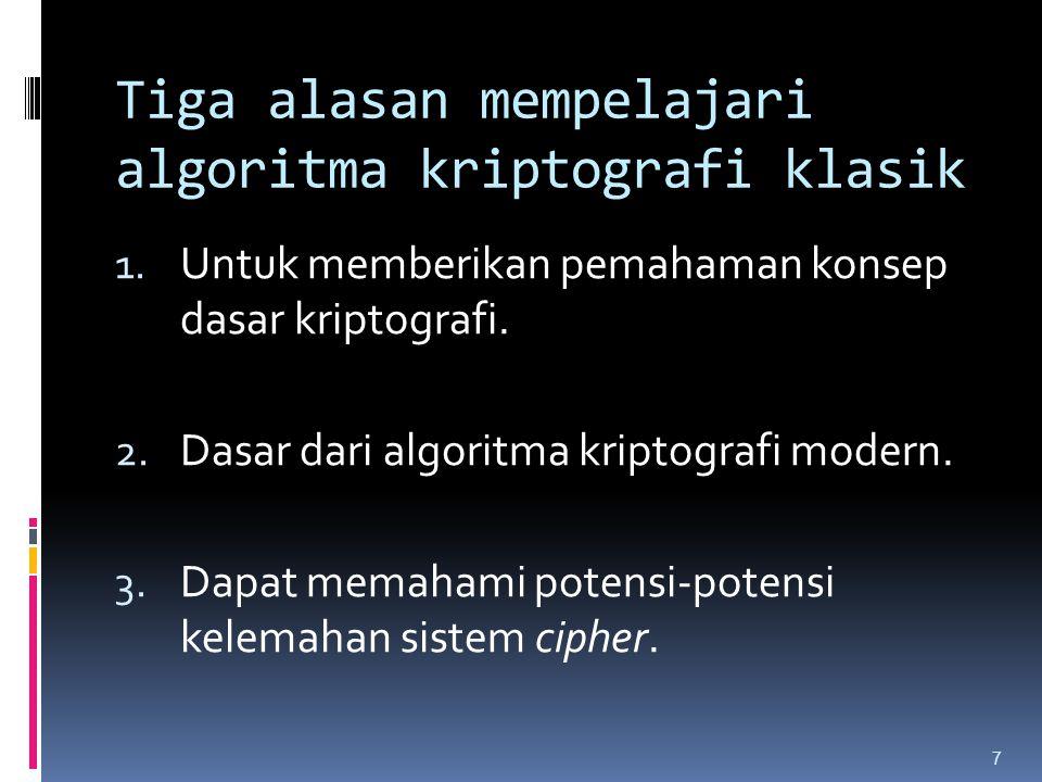 Tiga alasan mempelajari algoritma kriptografi klasik 1. Untuk memberikan pemahaman konsep dasar kriptografi. 2. Dasar dari algoritma kriptografi moder