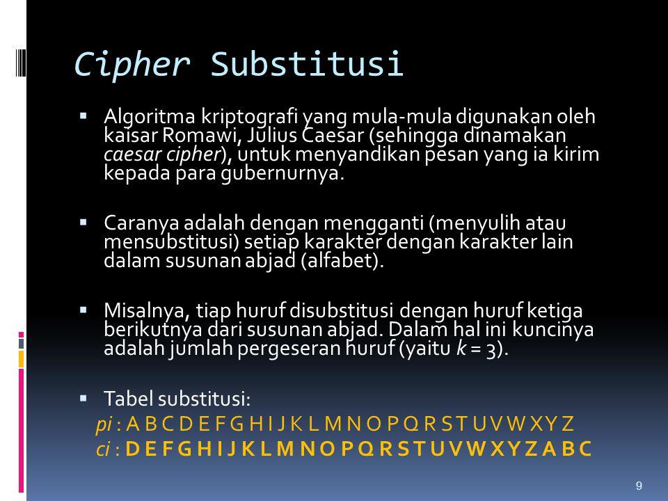 Cipher Substitusi  Algoritma kriptografi yang mula-mula digunakan oleh kaisar Romawi, Julius Caesar (sehingga dinamakan caesar cipher), untuk menyand