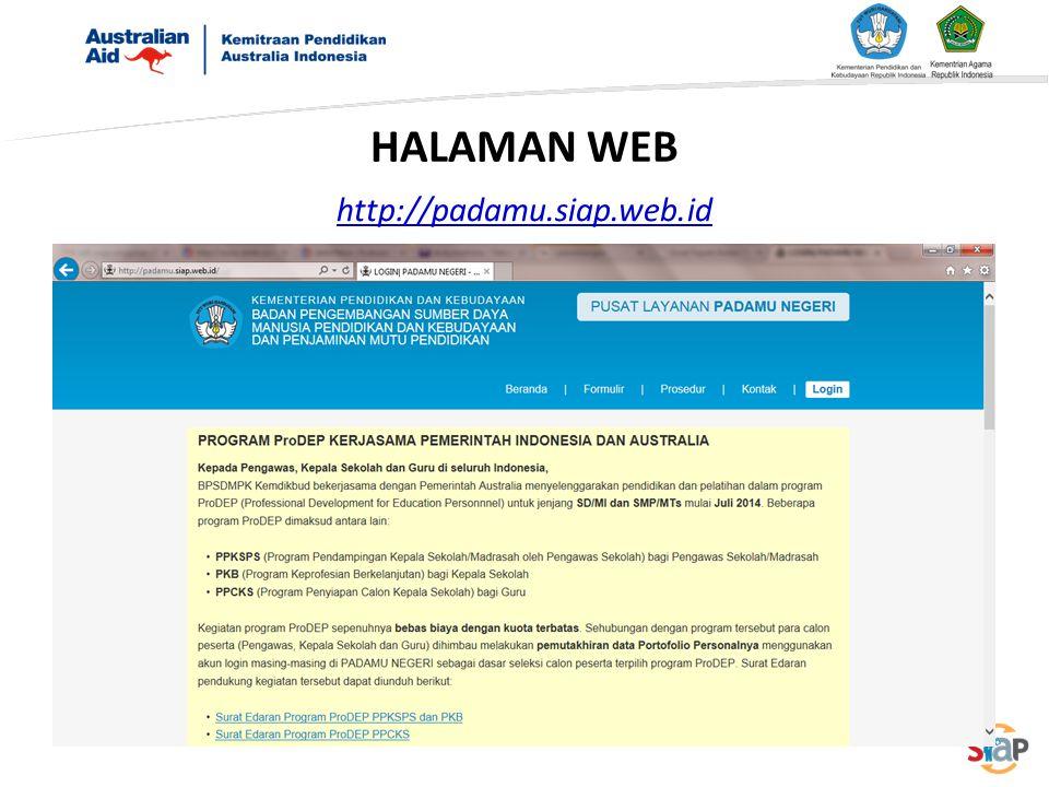 HALAMAN WEB http://padamu.siap.web.id