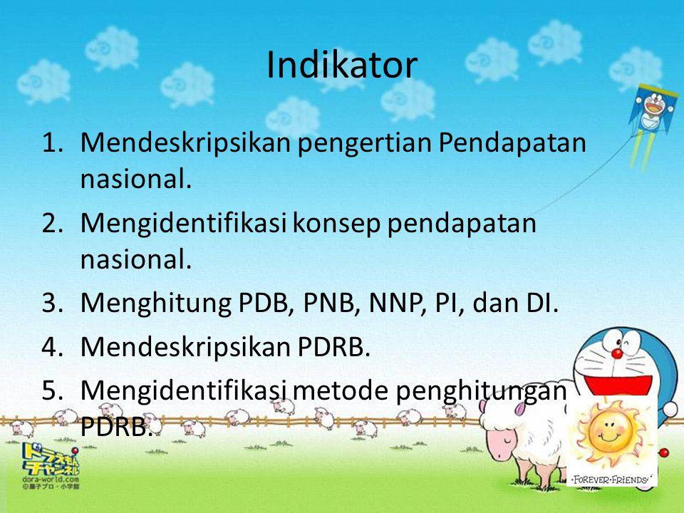 Indikator 1.Mendeskripsikan pengertian Pendapatan nasional. 2.Mengidentifikasi konsep pendapatan nasional. 3.Menghitung PDB, PNB, NNP, PI, dan DI. 4.M