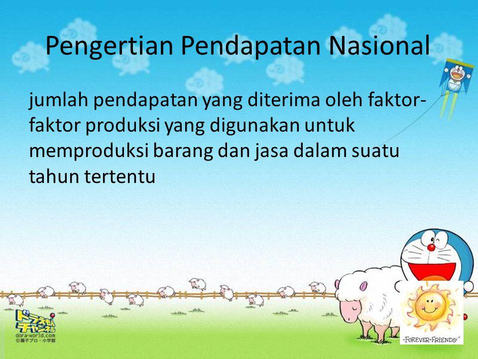 Konsep Pendapat Nasional 1.Produk Domestik Bruto (PDB) atau Gross Domestic Product (GDP)Produk Domestik Bruto (PDB) atau Gross Domestic Product (GDP) 2.Produk Nasional Bruto (PNB) atau Gross National Product (GNP)Produk Nasional Bruto (PNB) atau Gross National Product (GNP) 3.Produk Nasional Neto (PNN) atau Net National Product (NNP)Produk Nasional Neto (PNN) atau Net National Product (NNP) 4.Pendapatan Nasional Neto (PNN) atau Net National Income (NNI)Pendapatan Nasional Neto (PNN) atau Net National Income (NNI) 5.Pendapatan Perorangan atau personal Income (PI)Pendapatan Perorangan atau personal Income (PI) 6.Pendapatan Disposable atau Disposable Income (DI)Pendapatan Disposable atau Disposable Income (DI)