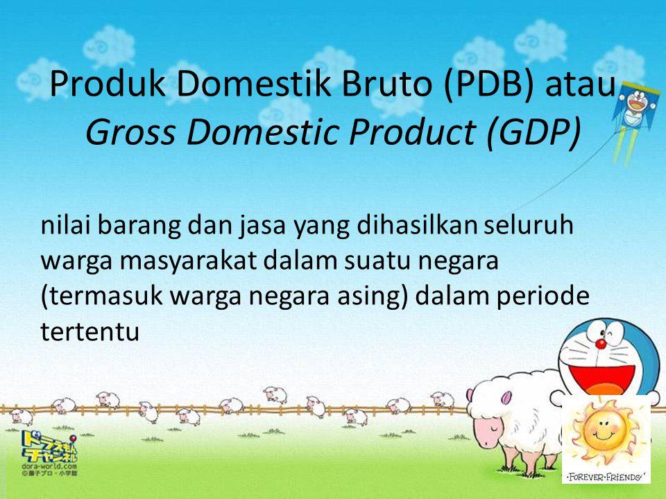Produk Domestik Bruto (PDB) atau Gross Domestic Product (GDP) nilai barang dan jasa yang dihasilkan seluruh warga masyarakat dalam suatu negara (terma