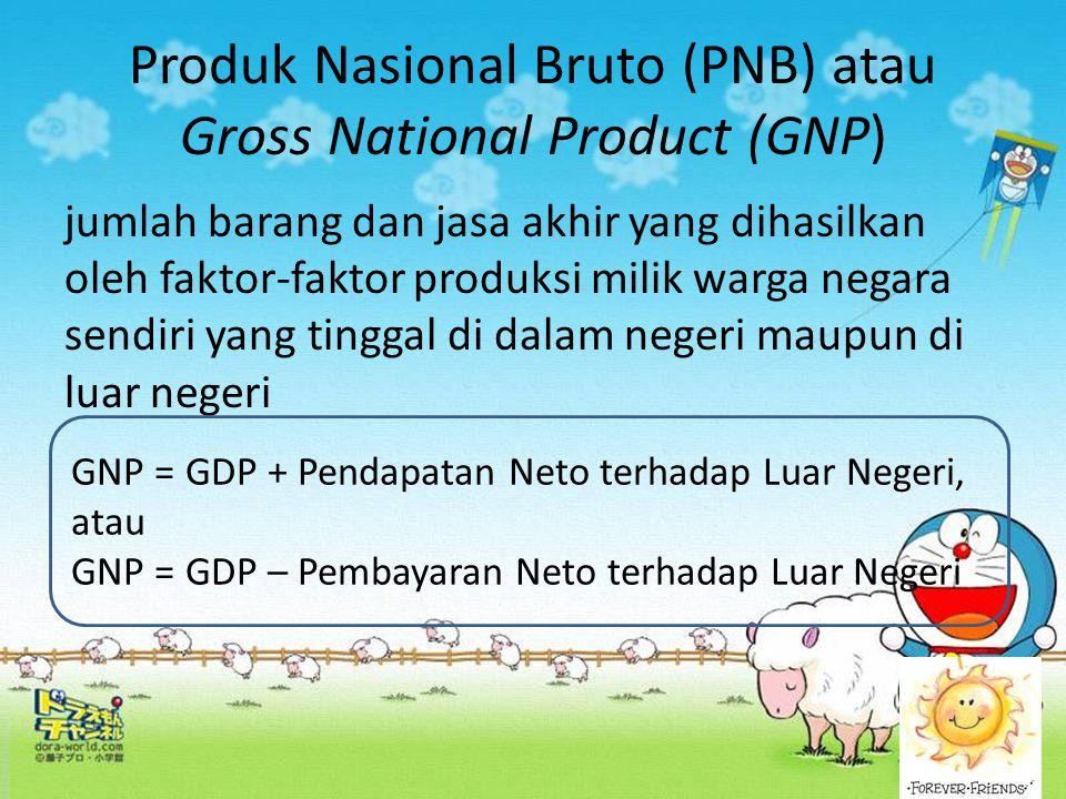 Produk Nasional Bruto (PNB) atau Gross National Product (GNP) jumlah barang dan jasa akhir yang dihasilkan oleh faktor-faktor produksi milik warga neg