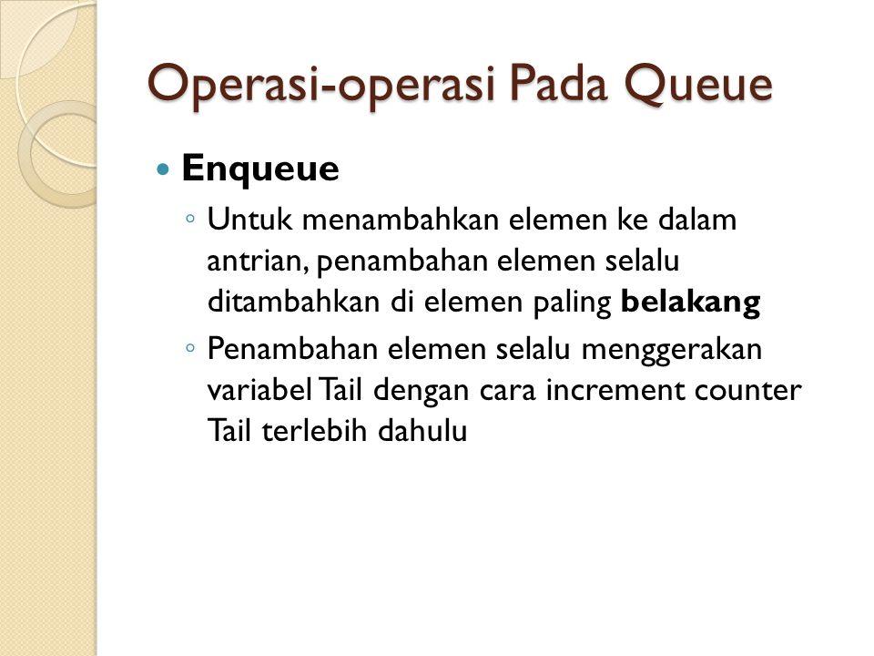 Operasi-operasi Pada Queue Enqueue ◦ Untuk menambahkan elemen ke dalam antrian, penambahan elemen selalu ditambahkan di elemen paling belakang ◦ Penambahan elemen selalu menggerakan variabel Tail dengan cara increment counter Tail terlebih dahulu