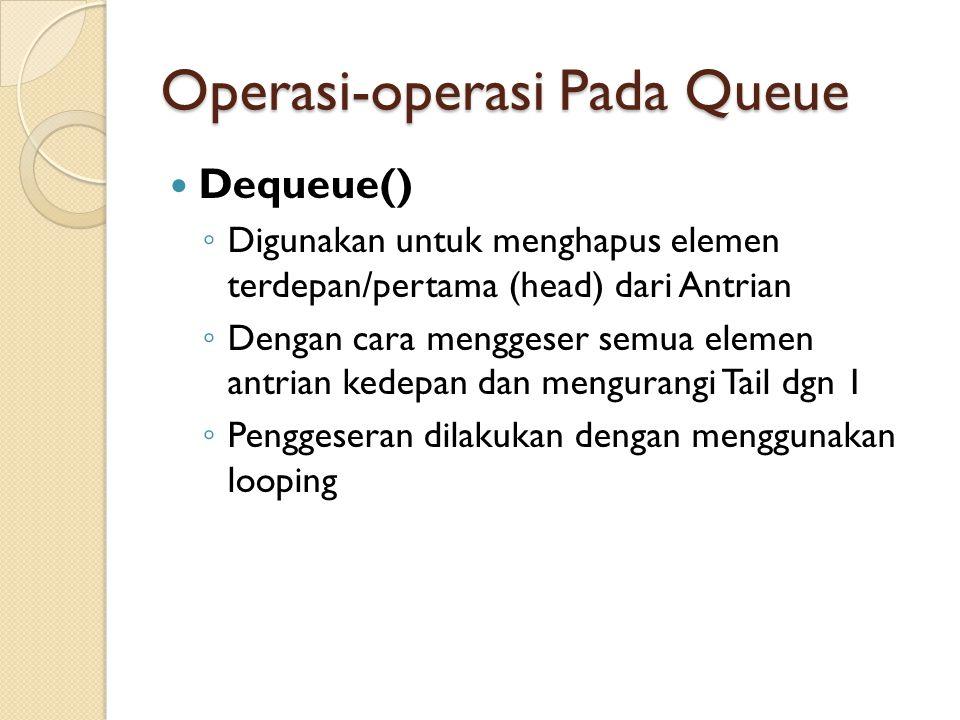 Operasi-operasi Pada Queue Dequeue() ◦ Digunakan untuk menghapus elemen terdepan/pertama (head) dari Antrian ◦ Dengan cara menggeser semua elemen antrian kedepan dan mengurangi Tail dgn 1 ◦ Penggeseran dilakukan dengan menggunakan looping