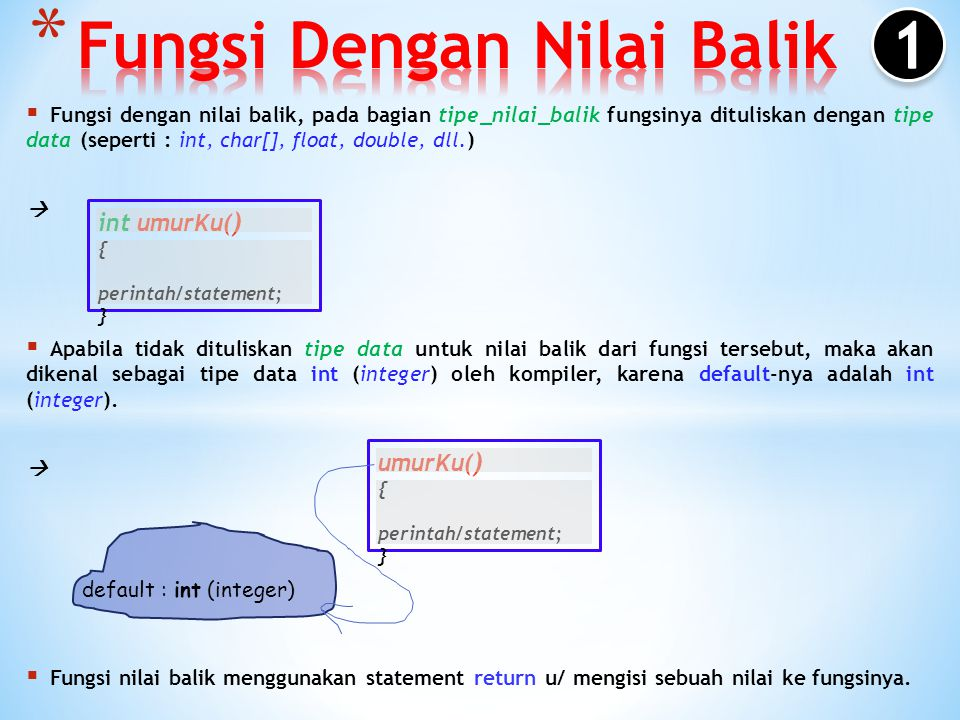 #include using namespace std; void garis() { cout << --------------------- <<endl; } int main() { garis(); cout << Belajar Fungsi <<endl; garis(); cout << Selamat belajar Fungsi C++ ya le <<endl; cout << Enjoy your life <<endl; garis(); return 0; }