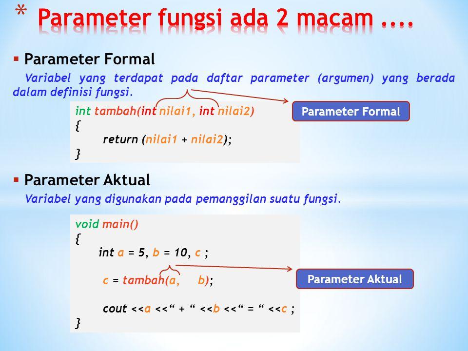  Suatu pendefinisan nilai-nilai dari objek-objek yang dideklarasikan pada bagian argumen di fungsi. Nilai-nilai dari objek tersebut didapat dari vari