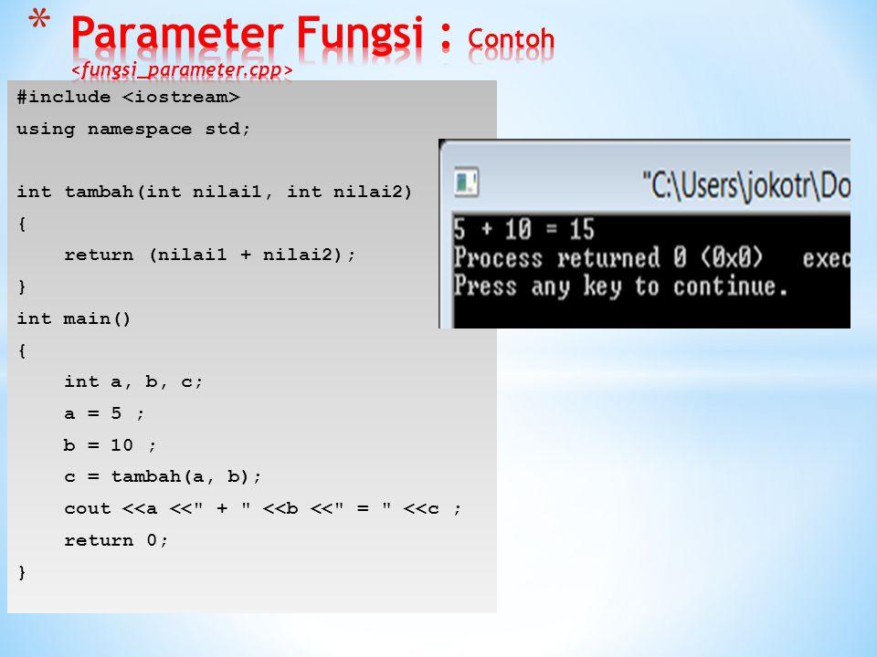  Parameter Formal Variabel yang terdapat pada daftar parameter (argumen) yang berada dalam definisi fungsi.  Parameter Aktual Variabel yang digunaka