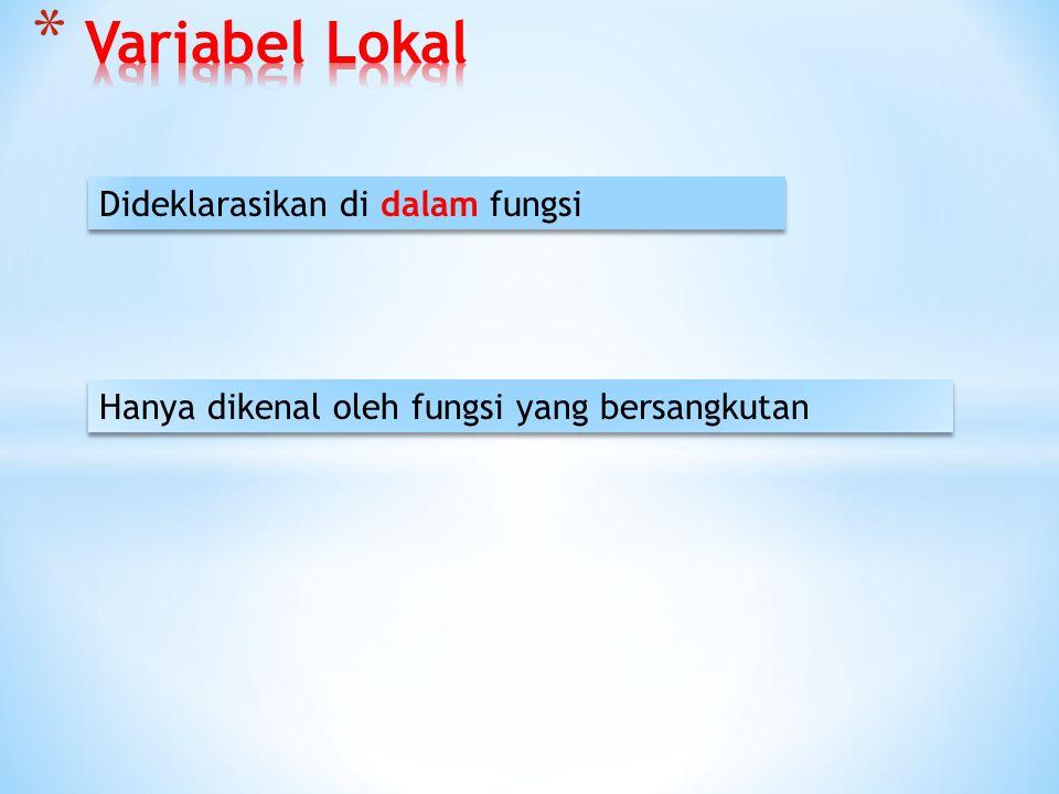 Jenis Variabel Jenis Variabel Variabel Lokal Variabel Global/Eksternal Variabel Statis