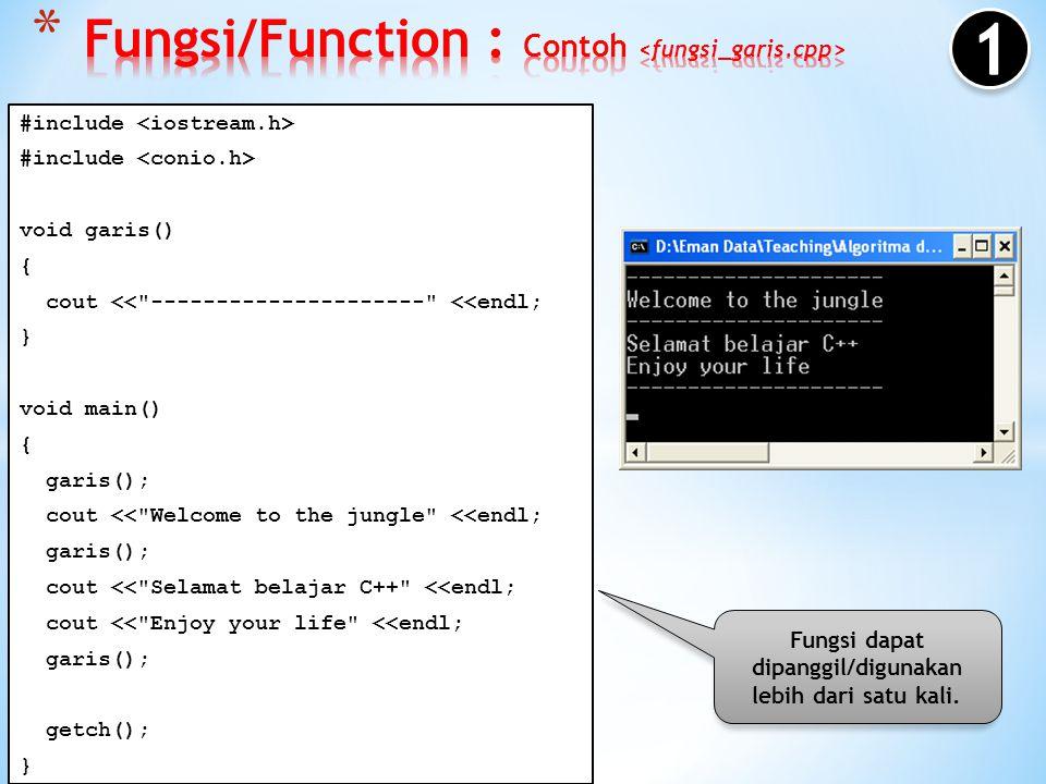 Fungsi dapat memanggil dirinya sendiri (yang dinamakan rekursif). main() {}{} fn_kesatu(); {}{} fn_kedua(); {}{} fn_ketiga(); {}{} statement1 ; statem